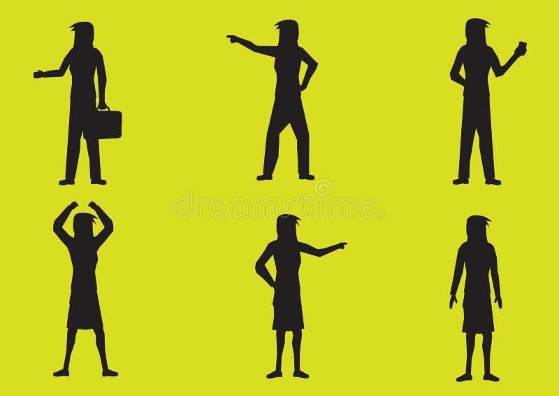 Illustration för vektor för tecknad filmkvinnakontur royaltyfri illustrationer