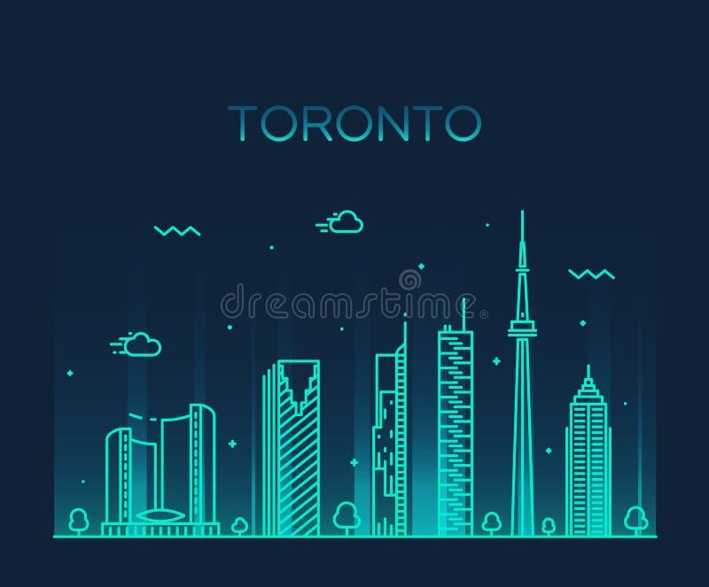 Illustration för vektor för Toronto horisont linjär moderiktig stock illustrationer