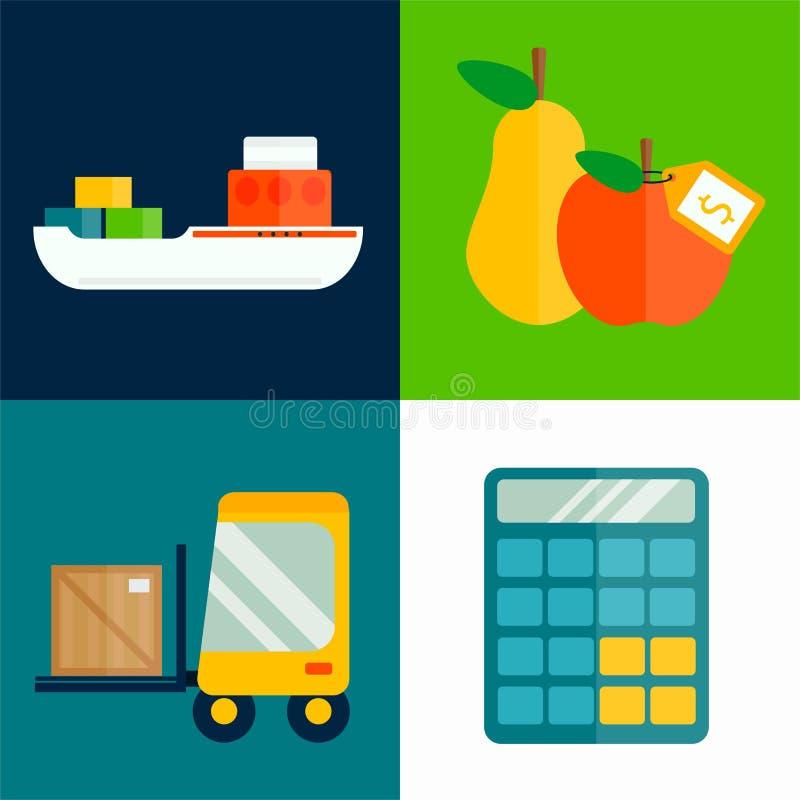 Illustration för vektor för transport för importexportfrukter royaltyfri illustrationer
