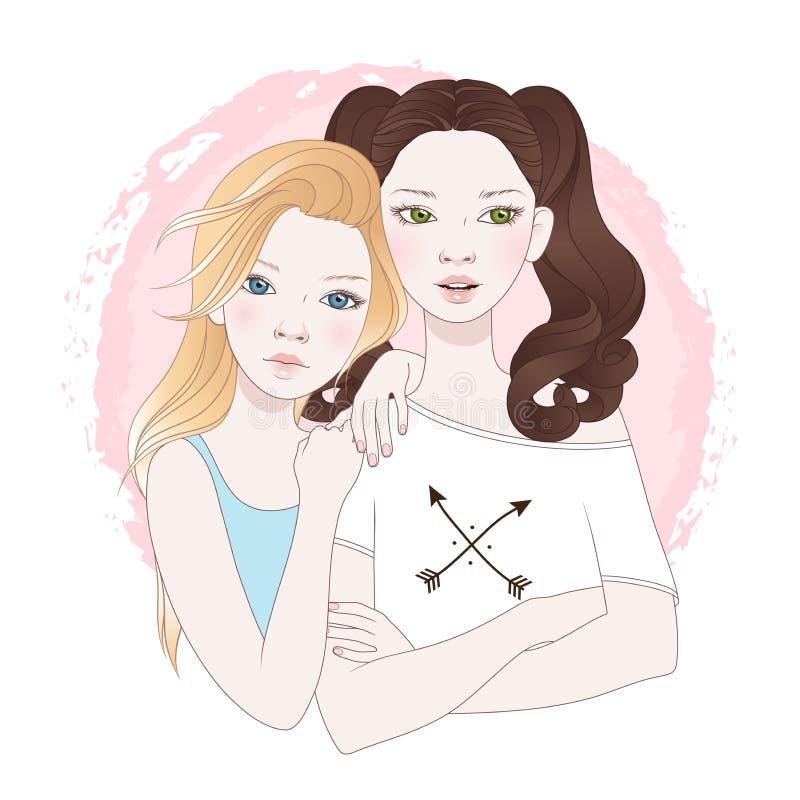 Illustration för vektor för två bästa vän för tonårs- flickor stock illustrationer