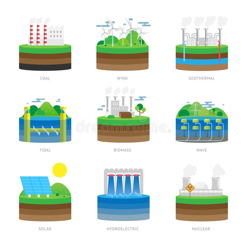 Illustration för vektor för uppsättning för eco för resurs för makt för elektricitet för källa för alternativ energi vektor illustrationer