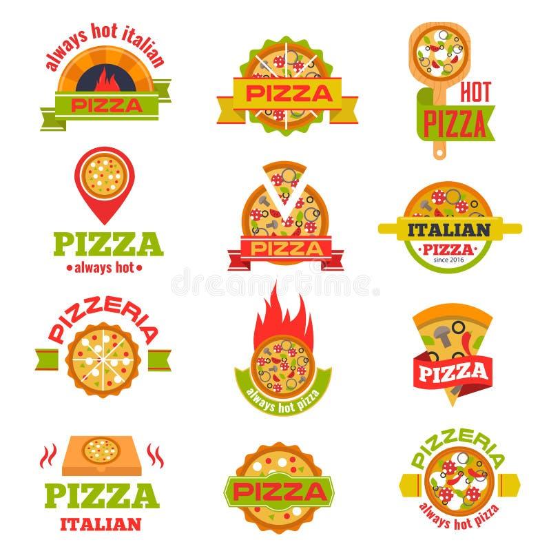 Illustration för vektor för uppsättning för emblem för leveranspizzalogo royaltyfri illustrationer