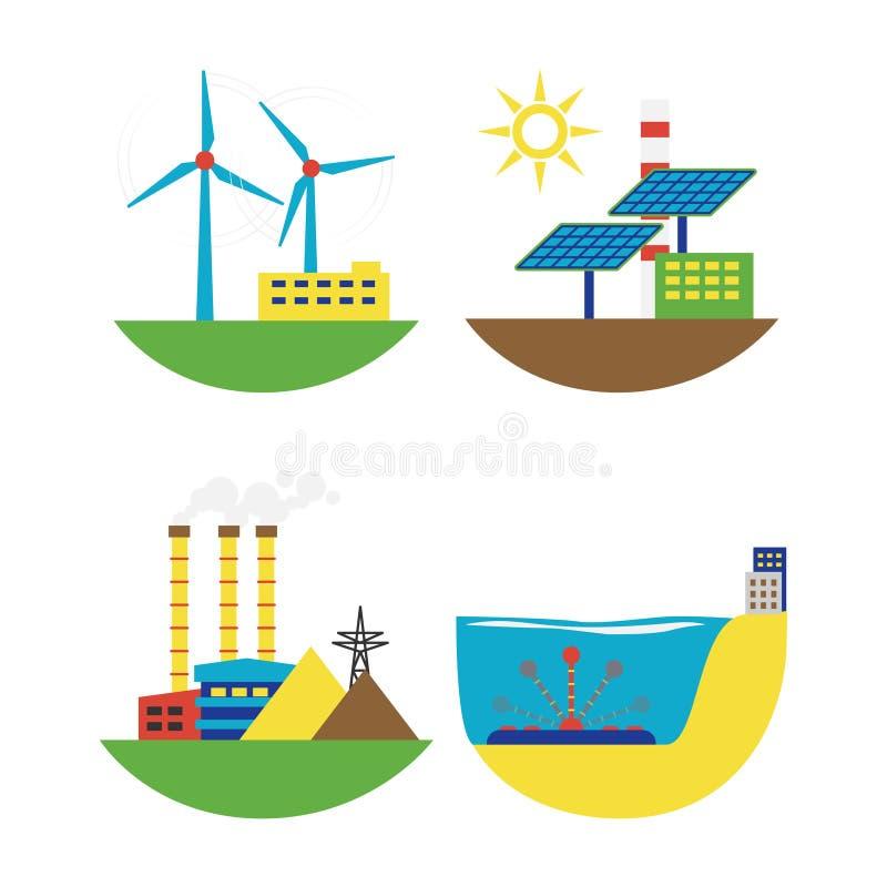 Illustration för vektor för uppsättning för källa för alternativ energi vektor illustrationer