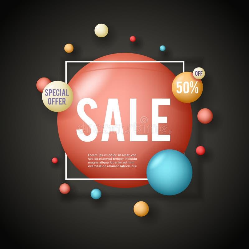Illustration för vektor för uppsättning för klistermärke för begrepp för erbjudande för orientering för Sale advertizingbaner spe vektor illustrationer