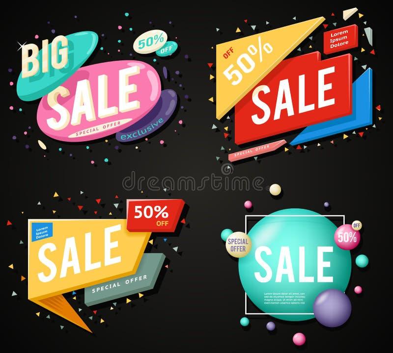 Illustration för vektor för uppsättning för klistermärke för begrepp för erbjudande för orientering för Sale advertizingbaner spe royaltyfri illustrationer