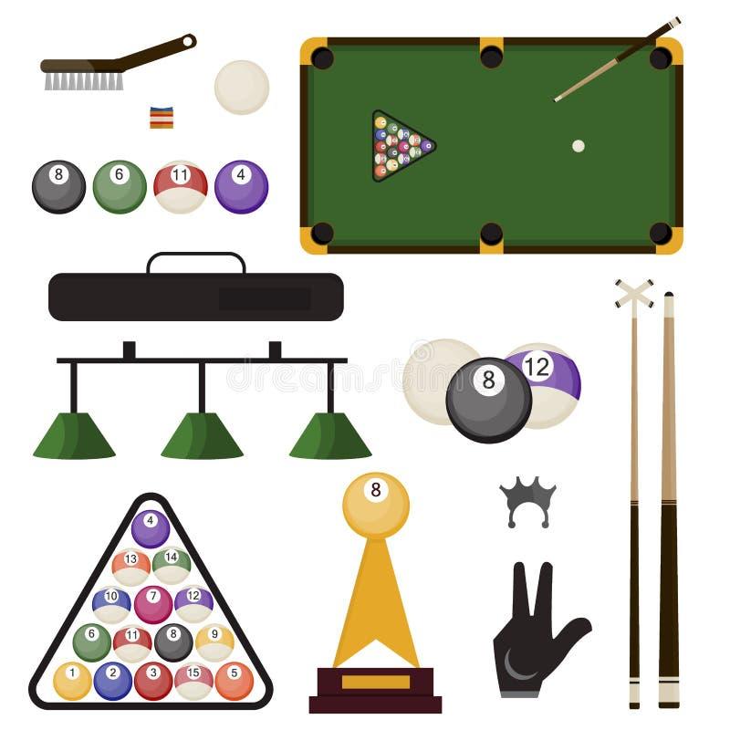 Illustration för vektor för utrustning för sportar för stickreplik för snooker för uppsättning för Billiardtillbehörsymboler royaltyfri illustrationer