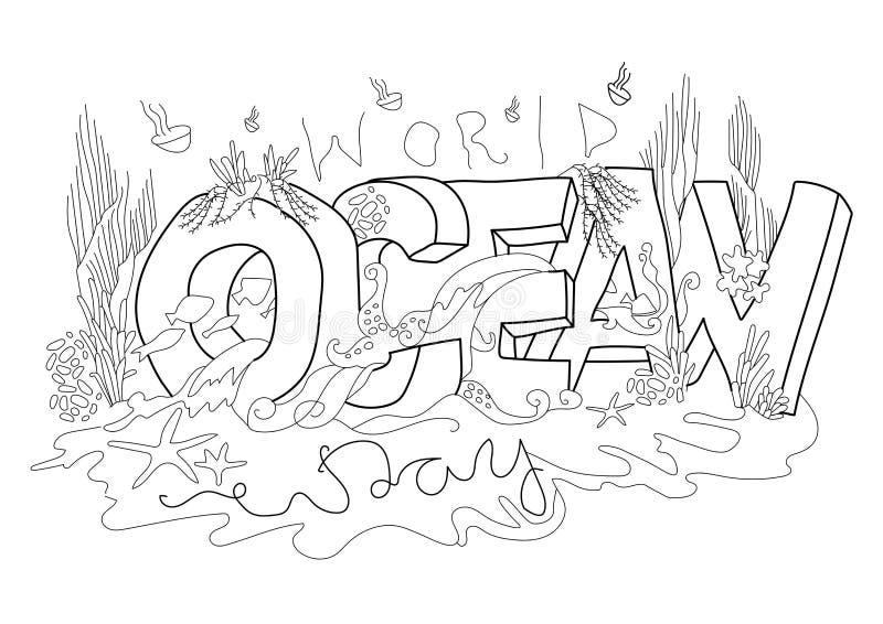 Illustration för vektor för världshavdag, vit bakgrund royaltyfri illustrationer