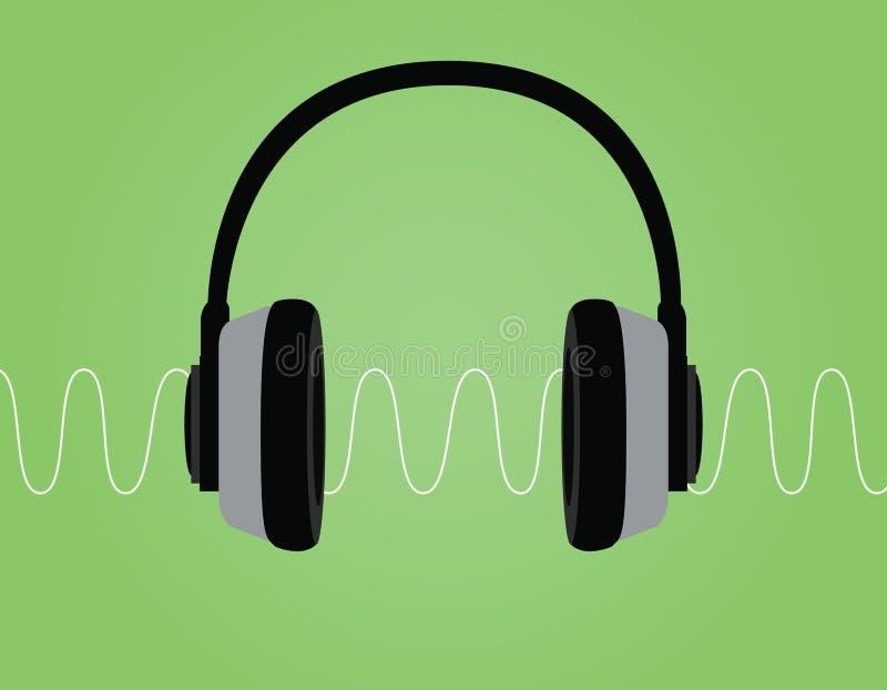 Illustration för vektor för våg för ljud för Headphoneoväsensignal med grön bakgrund stock illustrationer