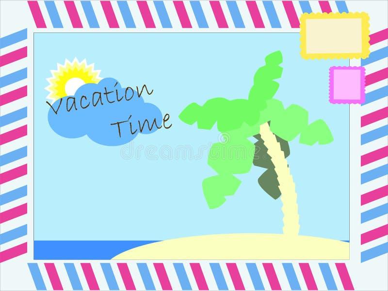 Illustration för vektor för vykort för semestertid vektor illustrationer
