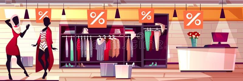 Illustration för vektor för försäljning för modekvinnaboutique stock illustrationer