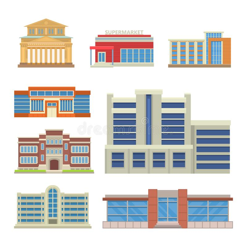 Illustration för vektor för fasad för hem för lägenhet för affär för hus för arkitektur för kontor för torn för stadsbyggnader mo vektor illustrationer