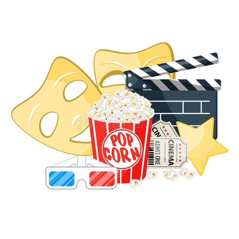 Illustration för vektor för filmtid Bioaffischbegrepp på röd rund bakgrund Sammansättning med popcorn, clapperboard royaltyfri illustrationer