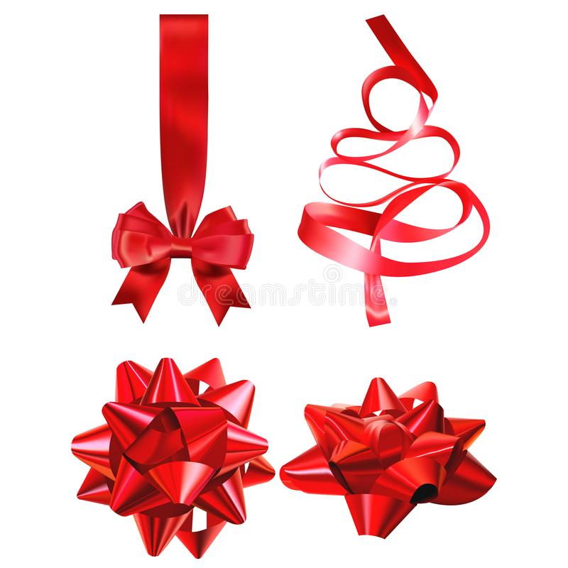 Illustration för vektor för gåvapilbåge realistisk på stordiaraster Röd garnering för bandgåvaask härlig vektor för juldesignillu royaltyfri illustrationer