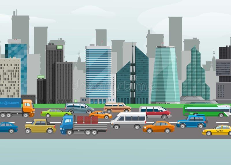 Illustration för vektor för gata för stadstrafik av stads- biltransport på trafikgränd Cityscapebyggnader och gator planlägger vektor illustrationer