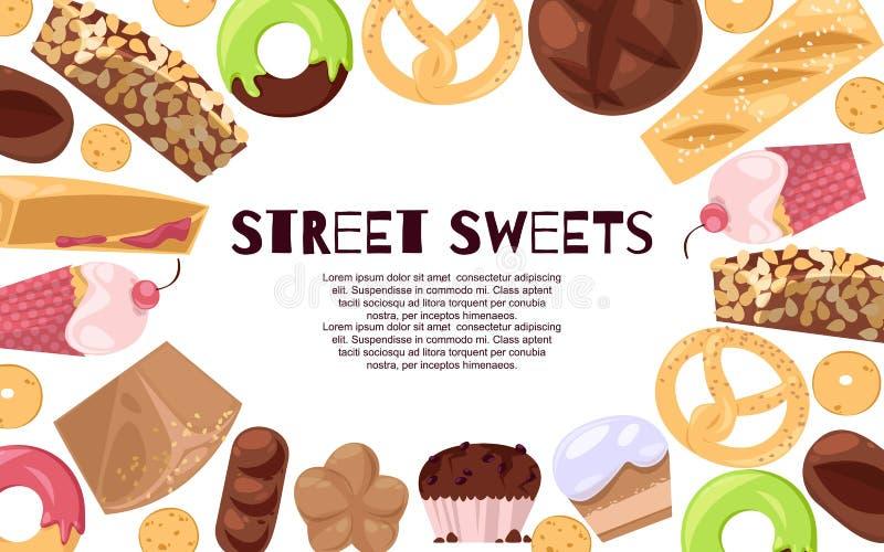 Illustration för vektor för gatasötsakbaner Godisar av olika kokkonster liksom glass, donuts, muffin, efterrätt vektor illustrationer