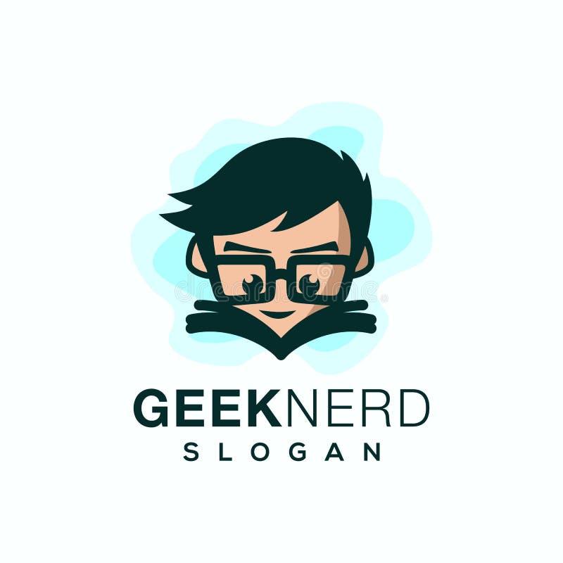 Illustration för vektor för Geeknerd logodesign stock illustrationer