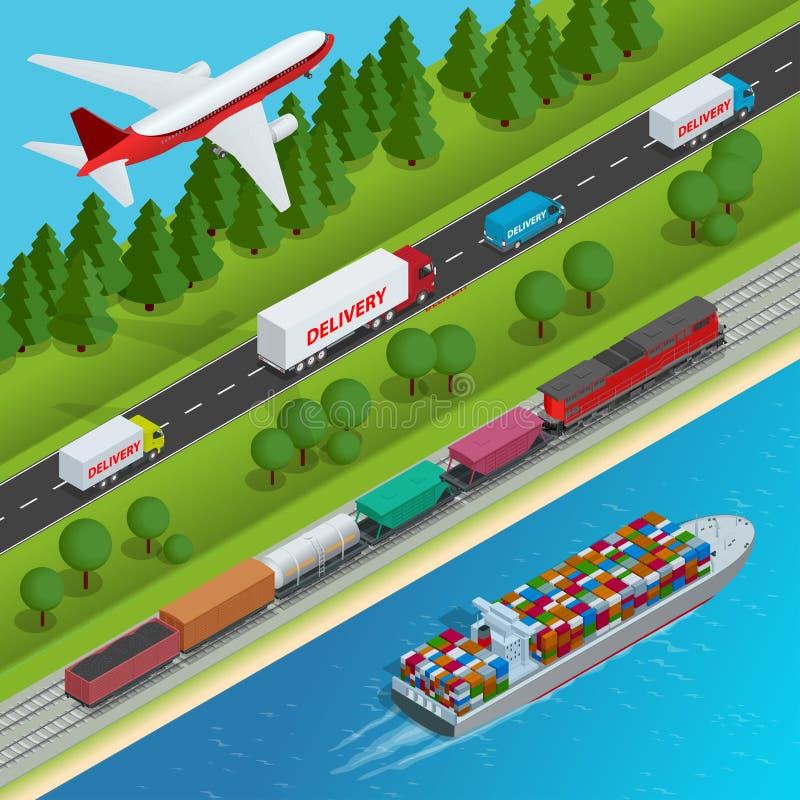 Illustration för vektor för global logistiknätverkslägenhet isometrisk royaltyfri illustrationer