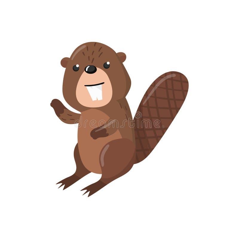 Illustration för vektor för gullig bäverskogsmarktecknad film djur royaltyfri illustrationer