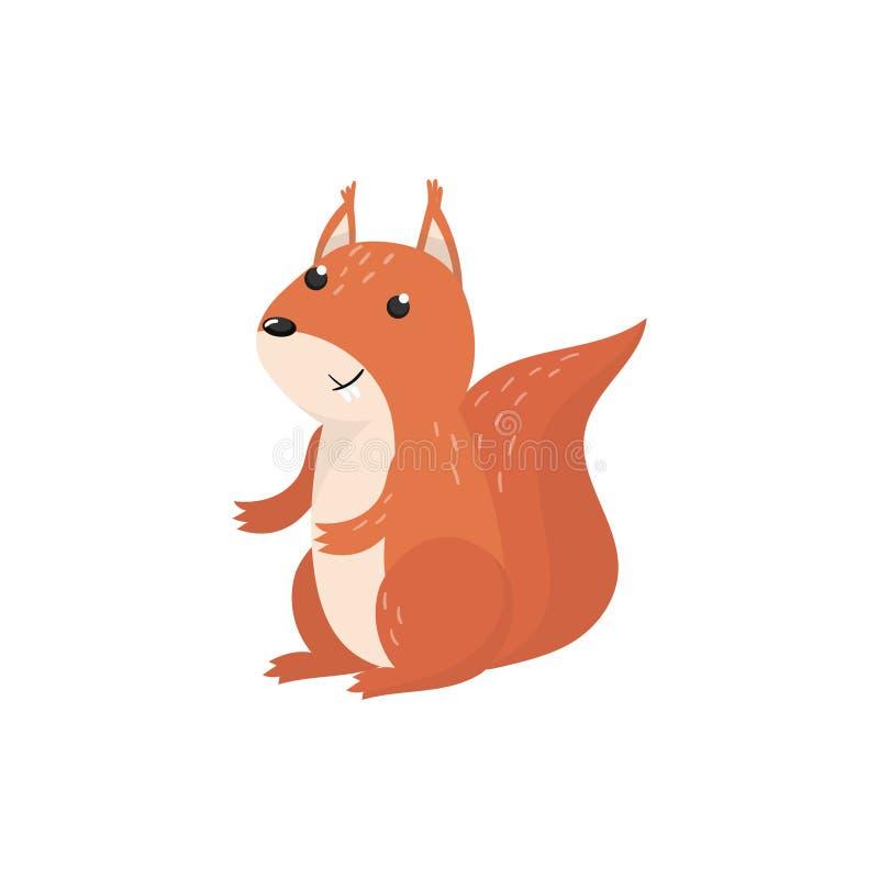 Illustration för vektor för gullig ekorreskogsmarktecknad film djur vektor illustrationer