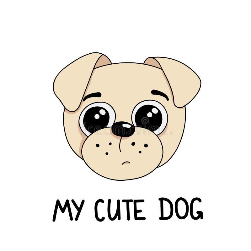 Illustration för vektor för gullig hundmopsavel utdragen med orden min gulliga hund royaltyfri illustrationer