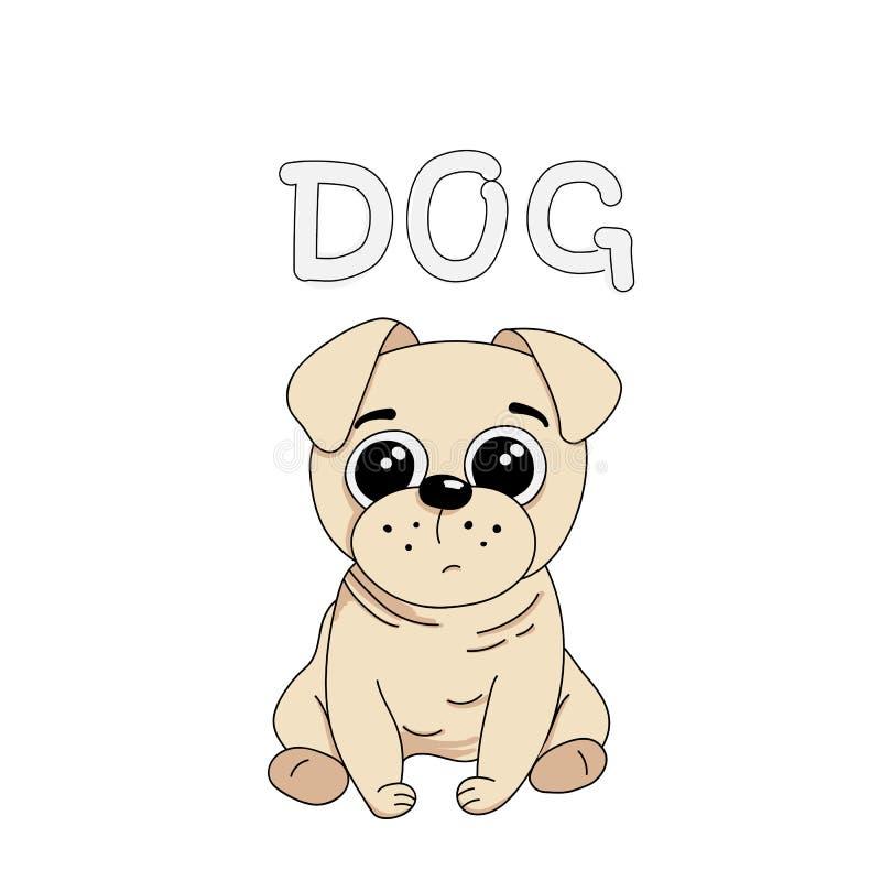 Illustration för vektor för gullig hundmopsavel utdragen med ordhunden royaltyfri illustrationer