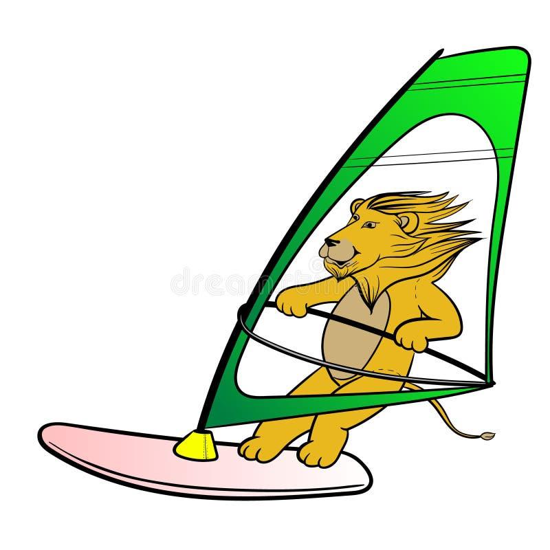 Illustration för vektor för gullig för lejonleksaksurfing hand för tecknad film utdragen royaltyfri illustrationer