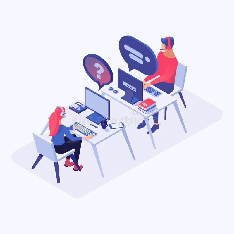Illustration för vektor för heta linjenkontorsarbetare isometrisk Appellmittoperatörer, pratstundchef i hörlurar med mikrofon på  stock illustrationer