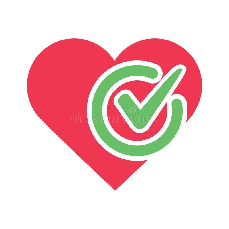 Illustration för vektor för hjärtafästingsymbol, sund hjärta för plan tecknad film med checkmarksymbolet, idé av bekräftat royaltyfri illustrationer