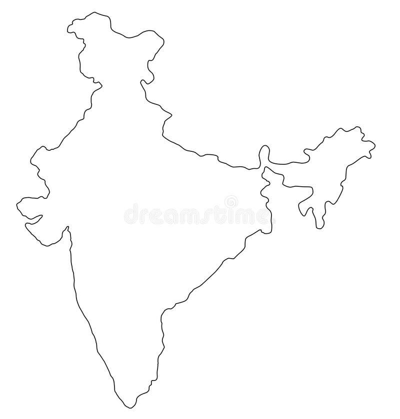 Illustration för vektor för Indien översiktsöversikt royaltyfri illustrationer