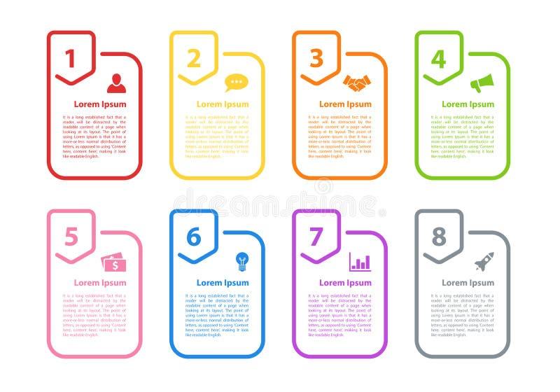 Illustration för vektor för Infographic designaffärsidé med 8 moment stock illustrationer
