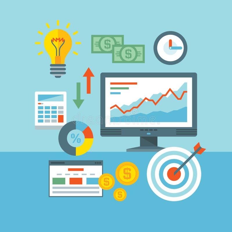 Illustration för vektor för Infographic finansbegrepp i plan designstil Information om rengöringsdukAnalytics och utvecklingsWebs stock illustrationer