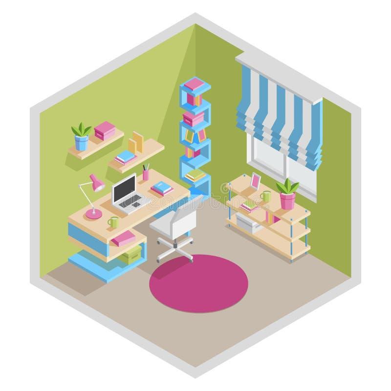 Illustration för vektor för inrikesdepartementetbegrepp isometrisk tolkning 3D av ett kontorsutrymme royaltyfri illustrationer