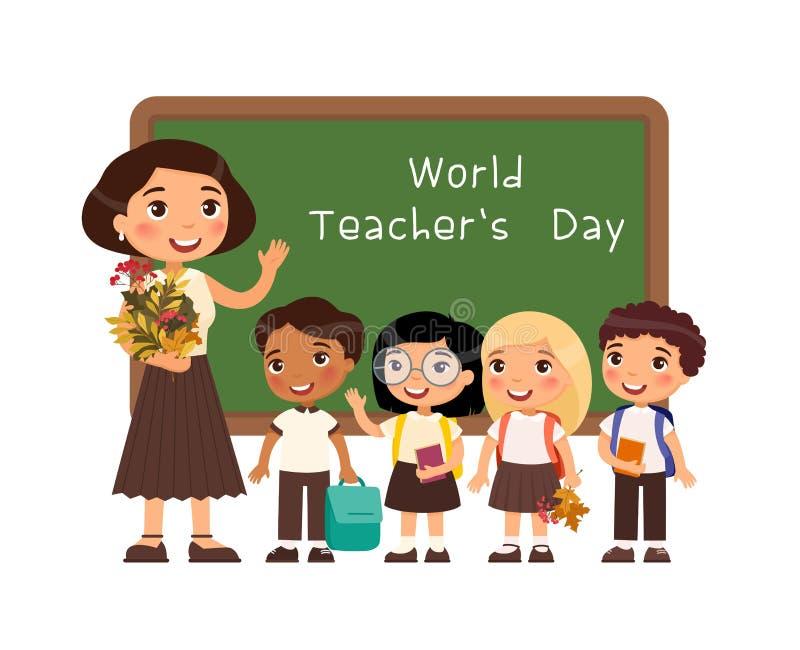 Illustration för vektor för internationell läraredaglyckönskan plan royaltyfri illustrationer