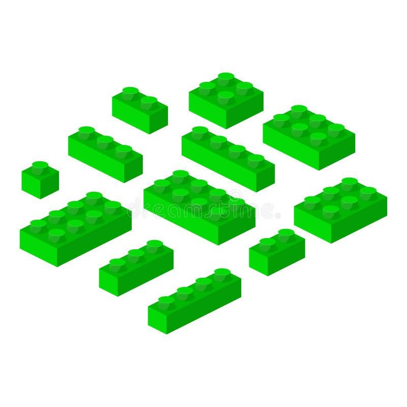 Illustration för vektor för isometriskt byggande för konstruktörkvarter 3d förskole- kubik royaltyfri illustrationer