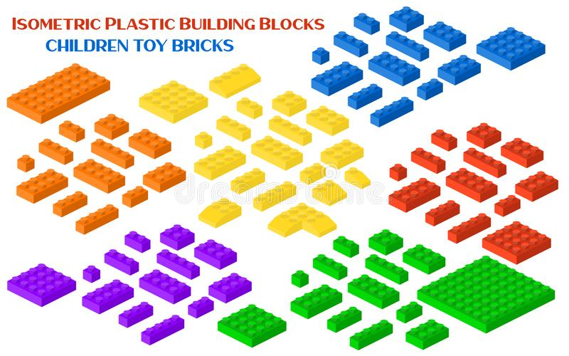 Illustration för vektor för isometriskt byggande för konstruktörkvarter 3d förskole- kubik stock illustrationer