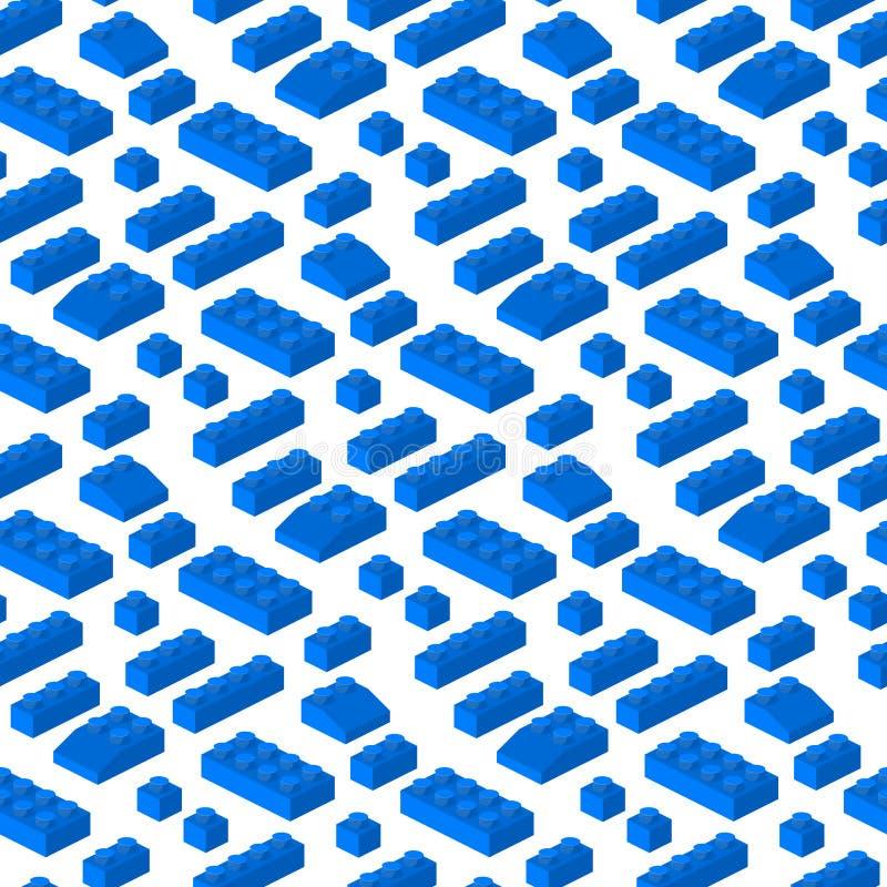 Illustration för vektor för isometriskt för konstruktörkvarter 3d sömlöst för modell byggande för bakgrund förskole- kubik royaltyfri illustrationer