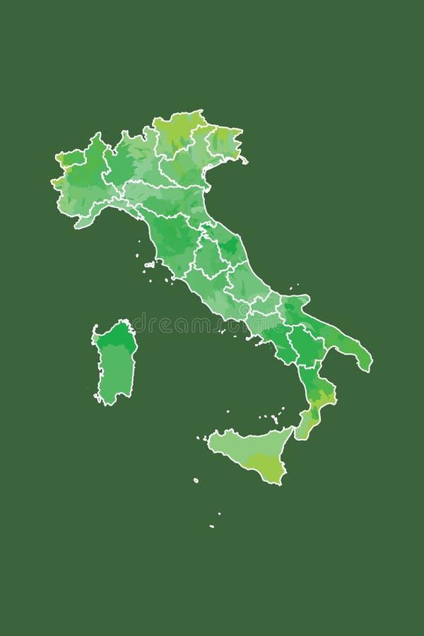 Illustration för vektor för Italien vattenfärgöversikt i grön färg med gränslinjer av olika regioner på mörk bakgrund genom att a vektor illustrationer