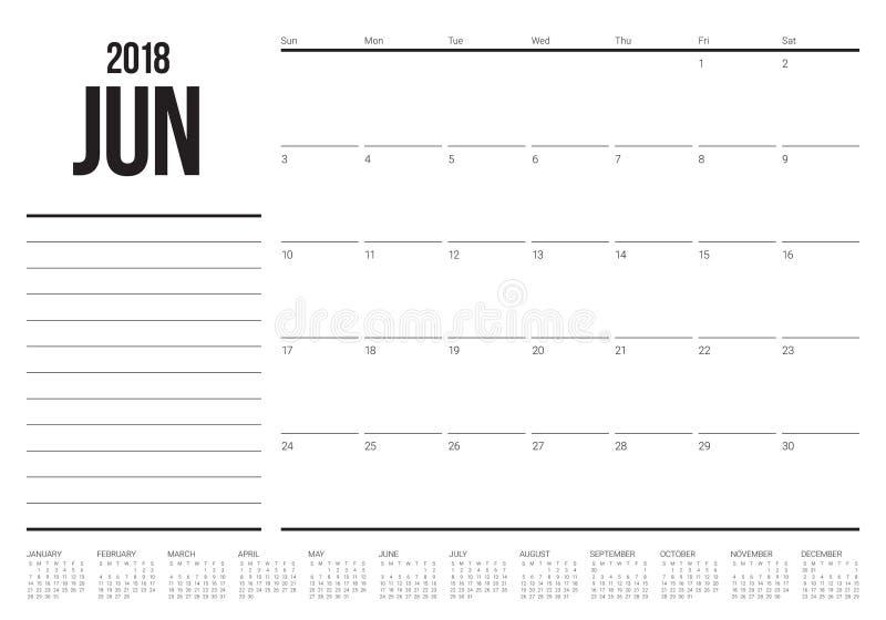 Illustration för vektor för Juni 2018 kalenderstadsplanerare royaltyfri illustrationer