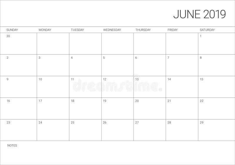Illustration för vektor för Juni 2019 skrivbordkalender vektor illustrationer