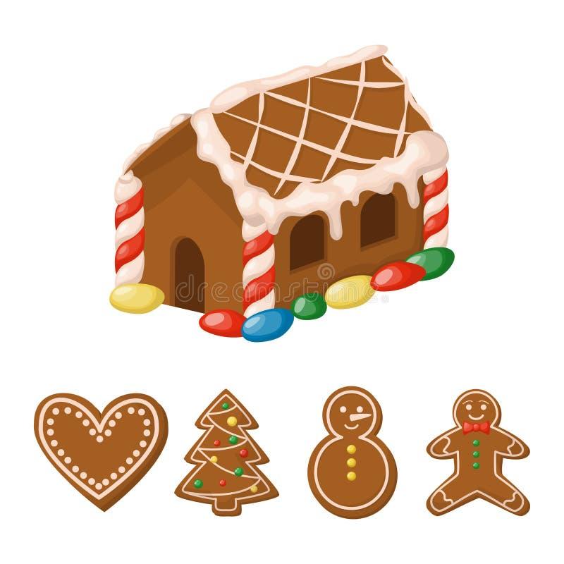 Illustration för vektor för kaka för efterrätt för godis för mat för ferie för jul för pepparkakahus söt traditionell royaltyfri illustrationer