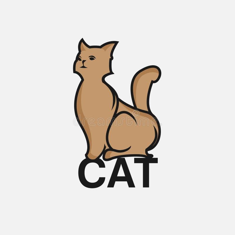 Illustration för vektor för kattlogo enkel modern vektor illustrationer
