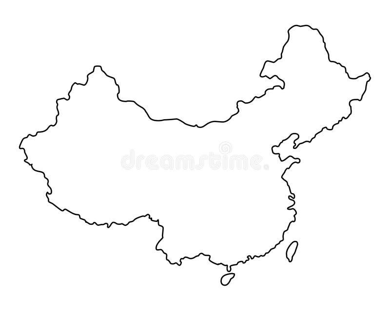 Illustration för vektor för Kina översiktsöversikt vektor illustrationer