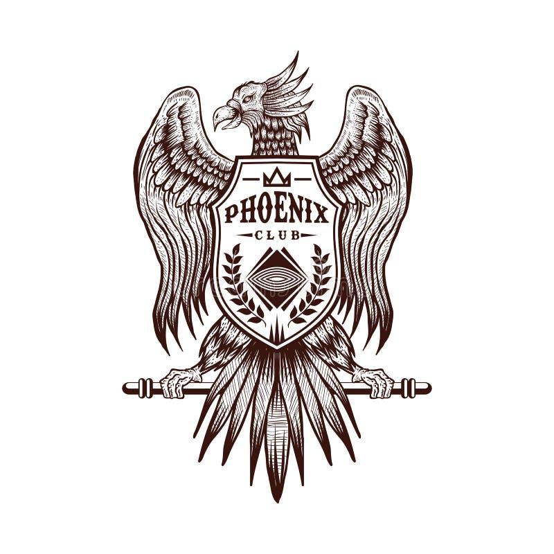 Illustration för vektor för klubba för Phoenix handattraktion stock illustrationer