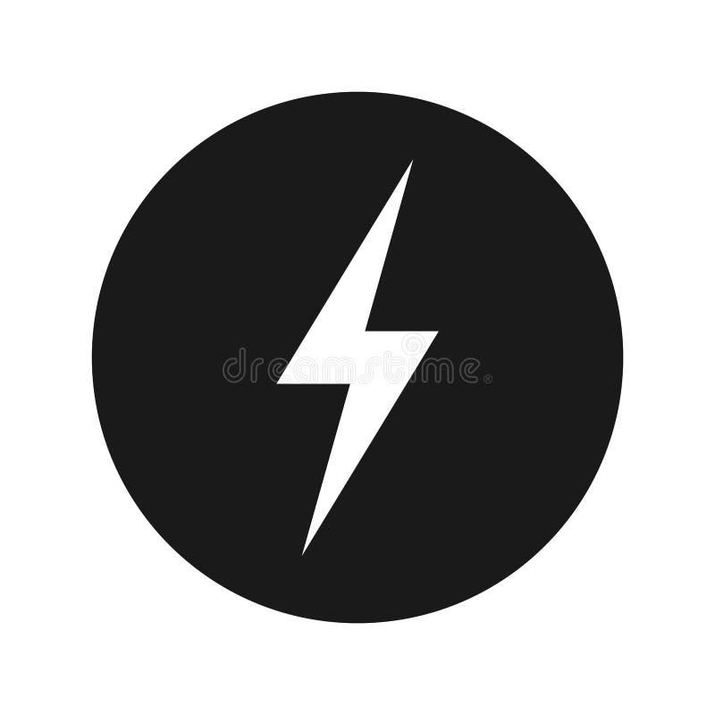 Illustration för vektor för knapp för elektricitetssymbol plan svart rund stock illustrationer