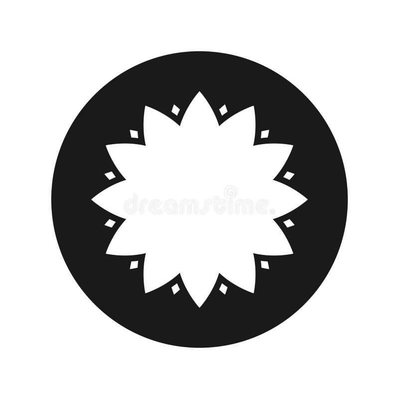 Illustration för vektor för knapp för lövrik blommasymbol plan svart rund royaltyfri illustrationer