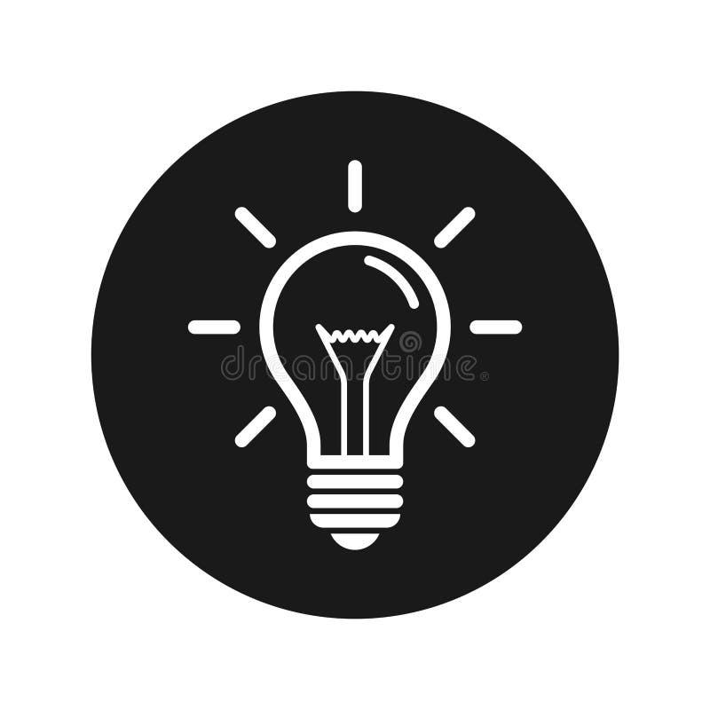 Illustration för vektor för knapp för Lightbulbsymbol plan svart rund vektor illustrationer