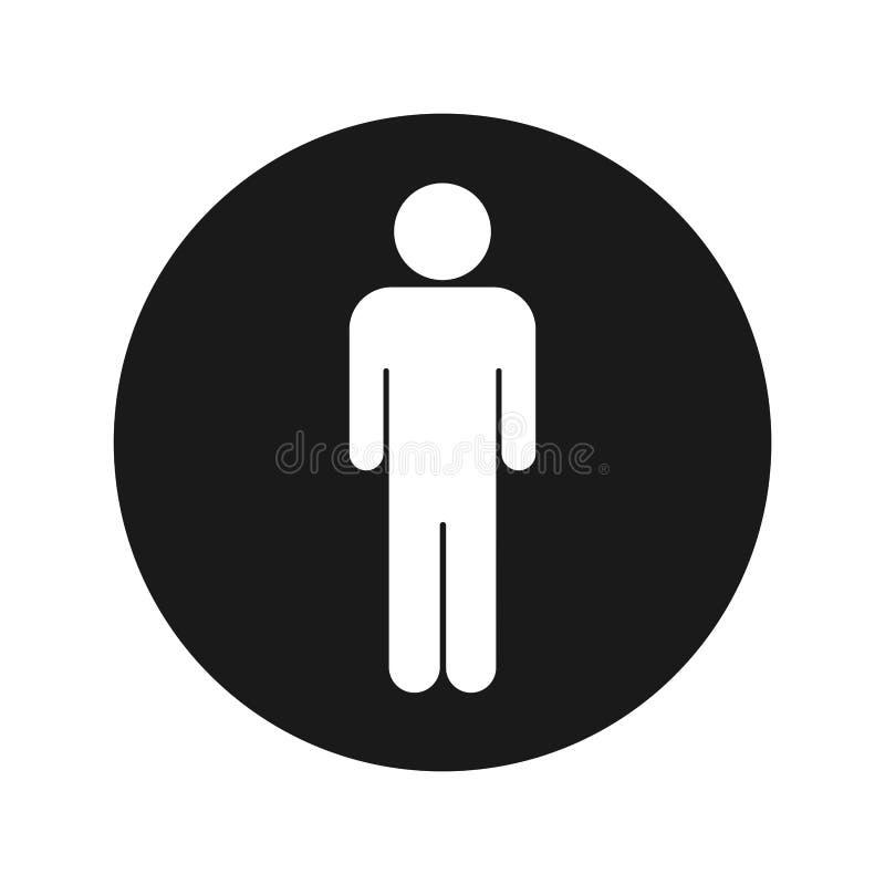 Illustration för vektor för knapp för mansymbol plan svart rund vektor illustrationer