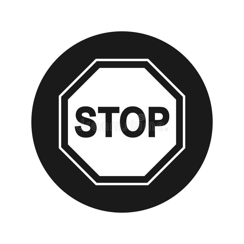 Illustration för vektor för knapp för stoppteckensymbol plan svart rund royaltyfri illustrationer