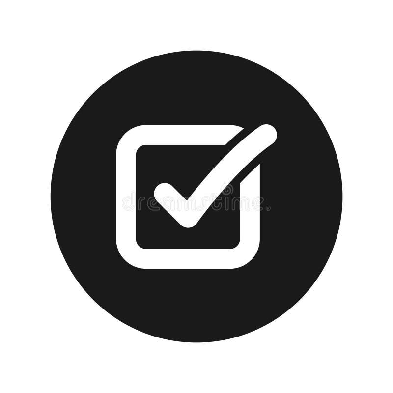 Illustration för vektor för knapp för symbol för kontrollask plan svart rund royaltyfri illustrationer