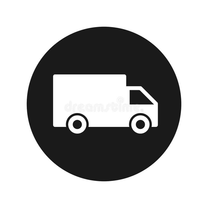 Illustration för vektor för knapp för symbol för leveranslastbil plan svart rund vektor illustrationer